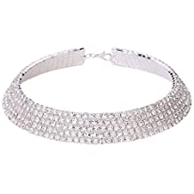 5 Row Rhinestone Choker Necklace for Women | Clear Austrian Crystal Prom Necklace Bridal Choker Collar Silver
