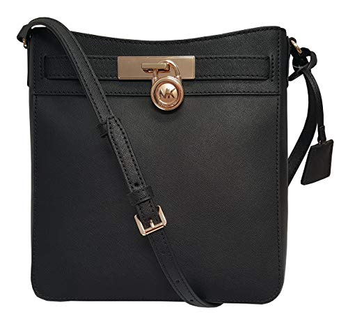 Michael Kors Hamilton Traveler Messenger Safiano Leather Crossbody Bag Black -