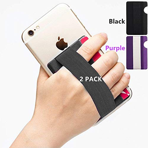 YMHML Phone Grip Card Holder for Back of Phone, Credit Card Holder Stick-On Wallet by 3M Self Adhesive Safety Finger Strap for Cell Phone Android and iPhone Pocket Pouch with Band 2 PCs (Blak+Purple)