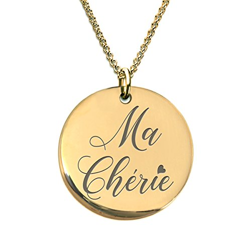 (Ma Chérie Amour Necklace 18K Gold Plated Laser Engraved - Collier pour Femme)