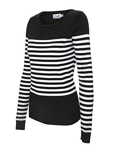 Breton Stripe Crew Neck Versatile Long Sleeve Pullover Sweater w/ Button Design (Extra Large, SW710 Black)