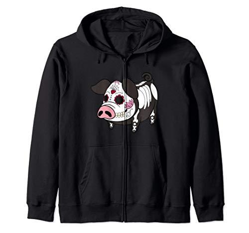 Dia De Los Muertes Pig Farmer Halloween Mexican Zip Hoodie]()