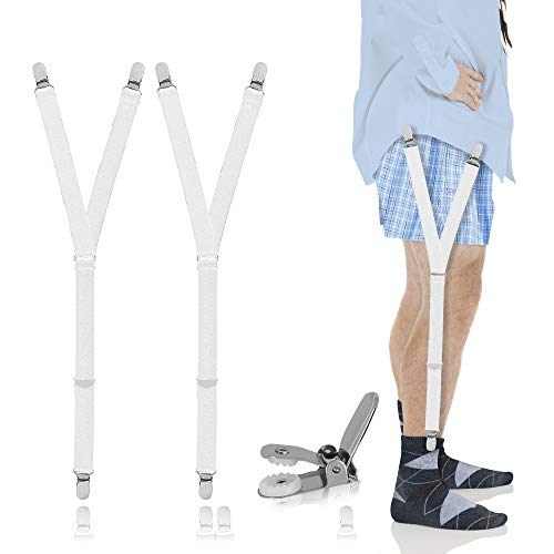 Shirt Stays For Men - Men's Fashion Accessories Shirts Stay : Suspenders with Metal Clip for Suit or Uniform Including Military or Police White