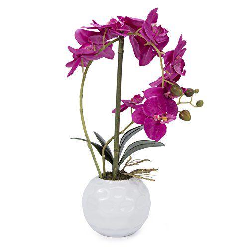 Artificial flowers Orchid arrangement centerpieces Home wedding office decoration (Rose Red)
