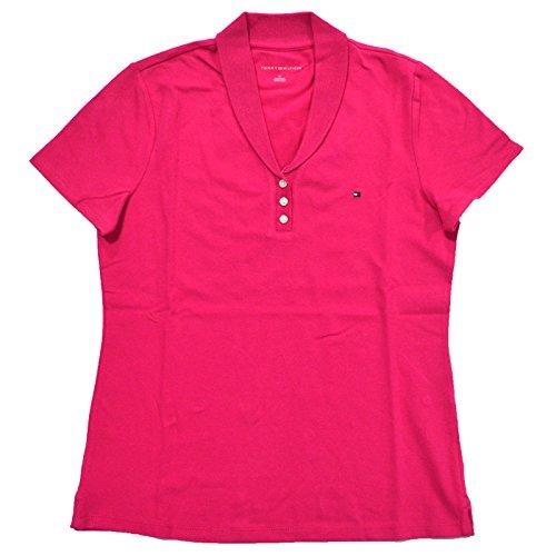 (Tommy Hilfiger Womens Stretch Mesh Polo Shirt (Medium, Hibiscus Pink))