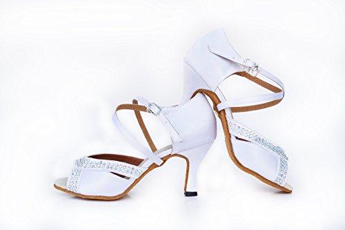 Chagalumba Fashion Plus de Zapatos 5 Baile Señoras De Perforar Cm Baile Los Satin De Blanco Zapatos Latino pdqxAwP4