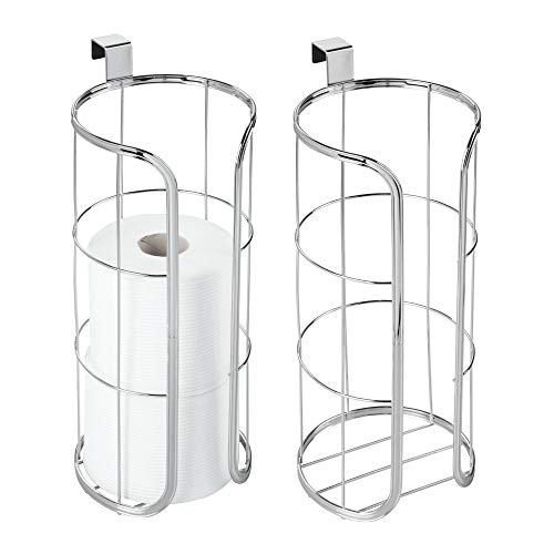 Tissue Toilet Holder Hanging (mDesign Modern Over The Tank Hanging Toilet Tissue Paper Roll Holder and Reserve for Bathroom Storage - Stores 3 Extra Rolls, Holds Jumbo-Sized Rolls - Durable Metal Wire, 2 Pack - Chrome)