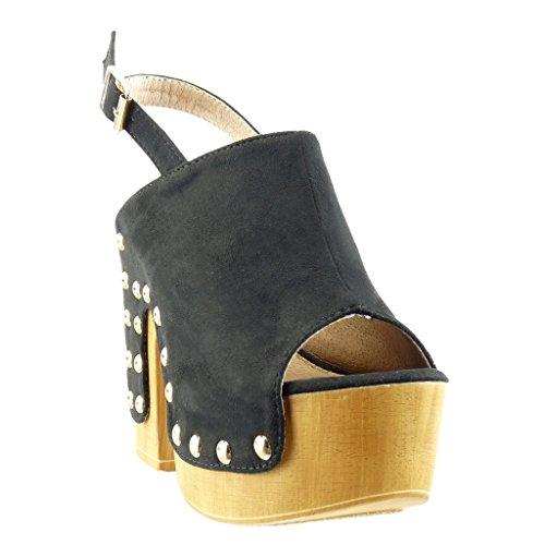 Angkorly - Zapatillas de Moda zueco Sandalias zapatillas de plataforma mujer tachonado madera Talón Tacón ancho alto 12.5 CM - Negro