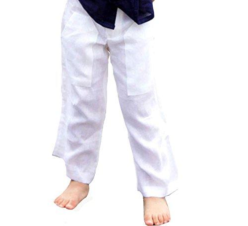 GUAYABERASCUBANAS Drawstring Two Pockets Linen Pants for Kids. Comfortable. (10-12, ()