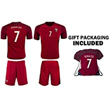JerzeHero Portugal Ronaldo #7 Kids Youth Soccer Gift Set ✓ Soccer Jersey ✓ Shorts ✓ Jersey Drawstring Bag ✓ Home or Away ✓ Short Sleeve or✓ Long Sleeve