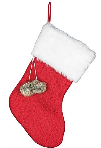 Furry Cuff 19 Inch Pom Pom Fabric Weave Knit Christmas Stocking, Red -
