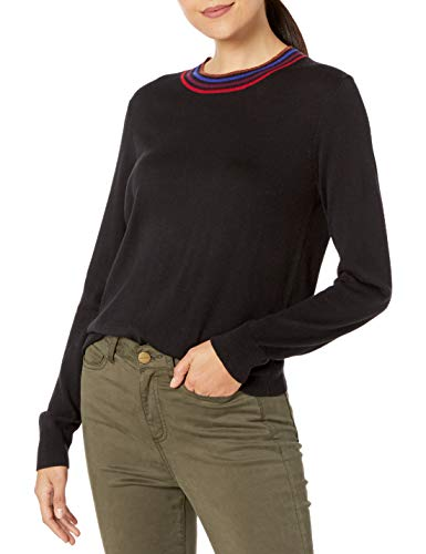 Splendid Women's Cashmere Blend Long Sleeve Pullover Sweater, Black, M