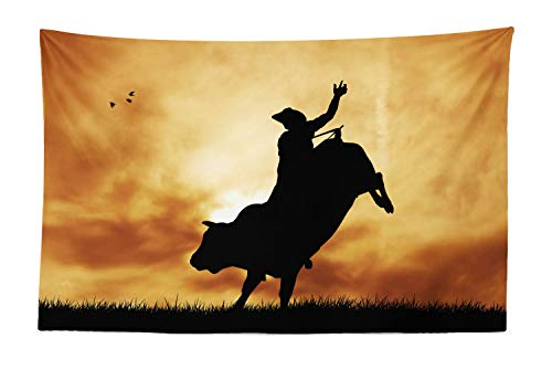 Lunarable Western Tapestry, Bull Rider Silhouette at Sunset Dramatic Sky Rural Countryside Landscape Rodeo, Fabric Wall Hanging Decor for Bedroom Living Room Dorm, 45 W X 30 L inches, Amber Black]()