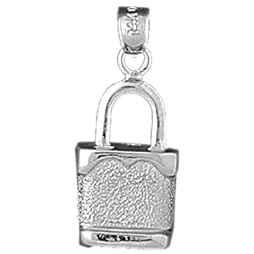 Jewels Obsession Padlock | 14K White Gold Padlock, Lock Pendant - 25 mm
