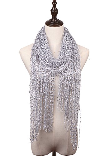 MissShorthair Lightweight Confetti Scarf Solid Women Shawls Wraps For Evening Dresses(Silver) (Sweater Metallic Sparkle)