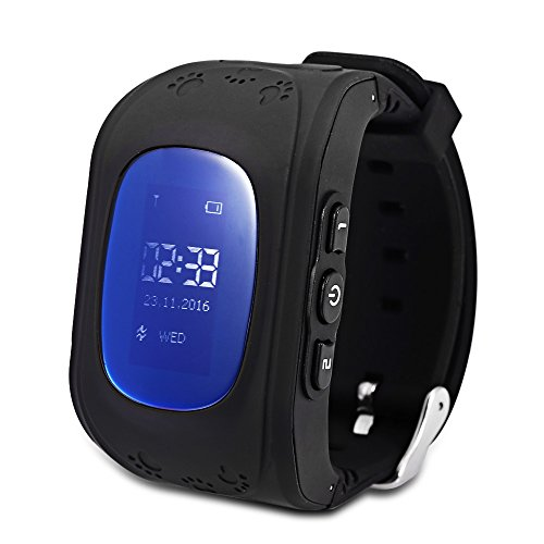 EbuyChX Q50 (q1213) Kids GPS Intelligent Smart Watch Telephone Pedometer LCD D Black English - English Pedometer