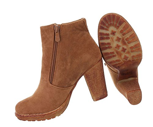 bergangs Stiefelette   Cap Toes   kurze Boots   Kurzschaft Stiefelette   Knöchelhohe Stiefel   bequeme Übergangsstiefel   Blockabsatz Stiefelette   Schuhcity24 Camel