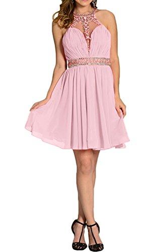Rosa Damen Linie Partykleid Kurz A Brautjunfernkleid Abendkleid Elegant Steine Ivydressing Chiffon PTO4qvxq