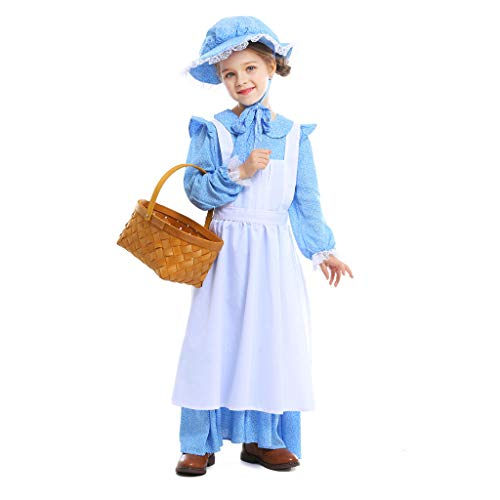 Meeyou Girls Pioneer Costume, Colonial Prairie Dress for Girls,Size M(height 52