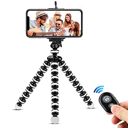 Phone Tripod,Portable and Flexible Adjustable Cell Phone Stand Holder with Remote and Universal Clip Compatible with iPhone Android Phone Compact Digital Camera Sports Camera GoPro