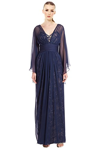 Teri Jon Chiffon Over Lace Silk Chiffon Evening Gown Dress