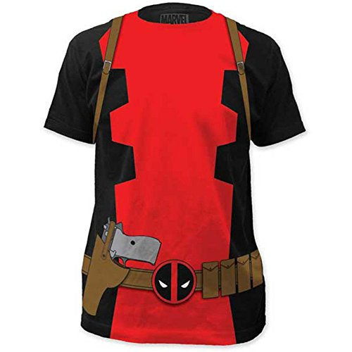 Marvel Men's Deadpool Classic Costume Suit Fitted Cotton T Shirt Large Black