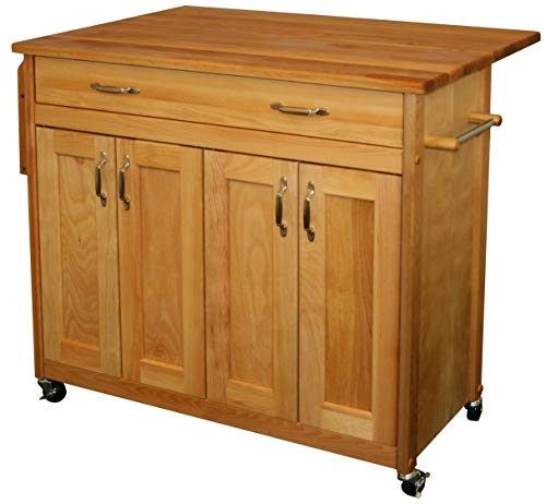 Catskill Craftsmen Kitchen Kitchen Cart - Catskill Craftsmen Mid-Sized Island with Flat Panel Doors and Drop Leaf