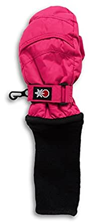 SnowStoppers STAY-ON Small Fuchsia Nylon Mittens, Ages 1-3