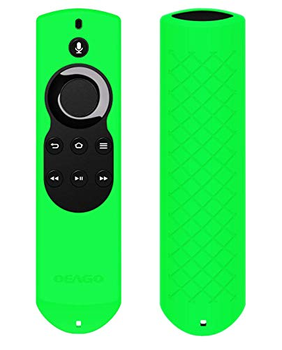 OEAGO Silicone [Anti Slip] Shock Proof Cover Case for All-New Fire TV with 4K Alexa Voice Remote (2017 Edition) (2nd Gen) / Fire TV Stick Alexa Voice Remote (Green)