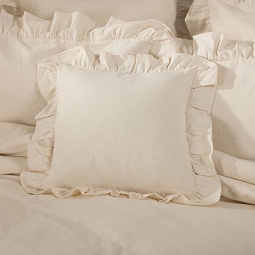 - Piper Classics Ashley Natural Ruffled Pillow Cover, 18x18, Farmhouse Style Beige Cream Throw Pillow Cover