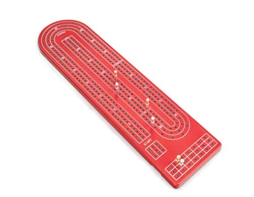 Quality Red Cribbage Board by Gapple, Durable Aluminum Material, Precise Engraving, Gorgeous Anodized Finish, Color Variety, Metal Scoring Pegs and Convenient Peg Storage (Board Aluminum Cribbage)