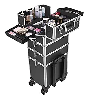 VIVOHOME 4 In 1 Rolling Makeup Train Case Aluminum Professional Artist Cosmetic Organizer Box with 360 Degree Wheels Shoulder Straps 2 Keys Black(Cosmetic are not included)