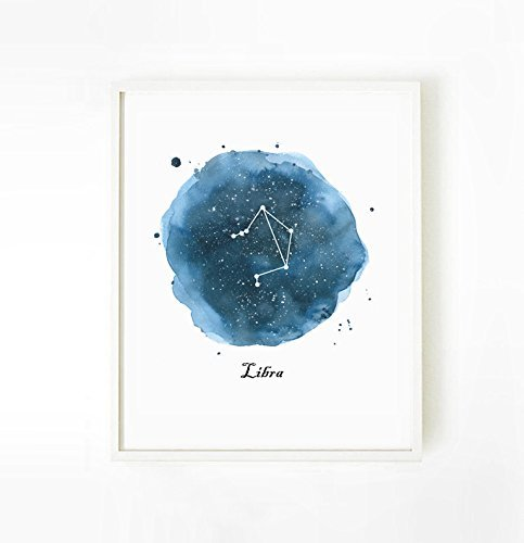 Libra Birthday Gift Zodiac Art Print Constellation Astrology Poster