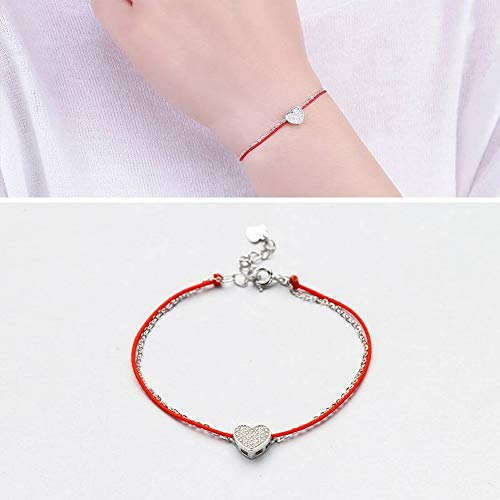 (SLL Damenmode Ol Heart-Shaped Platinum Armband S925 Sterling Silber Inlay Stein Heart-Shaped Red String Armband Fashion Silber Armband, Weiß)