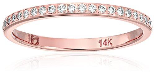14k Rose Gold 2mm Pave Set Wedding Band Stackable Ring , Siz