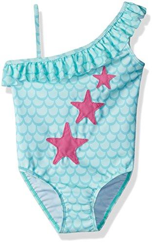 Flap Happy Girls' Upf 50+ Arielle Ruffle Swimsuit, Mermaid Tale, 24m