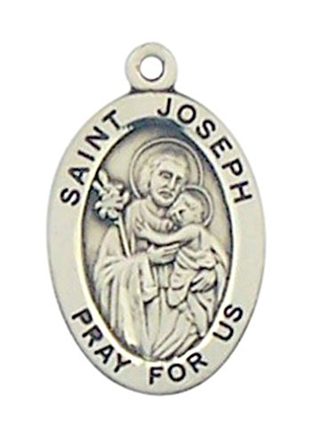 Joseph Patron Saint Medal (Sterling Silver Patron Saint Joseph Oval Medal Pendant, 7/8 Inch)