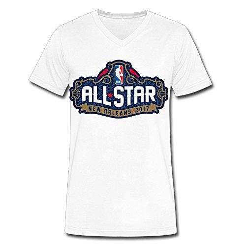 Men's NBA All-Star Game 2017 Logo V-Neck T-shirt White (Where To Buy Big Teddy Bears)