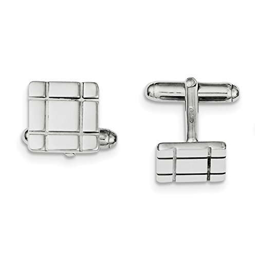 Sterling Silver Rhodium-plated Grooved Design Cuff Links for Mens