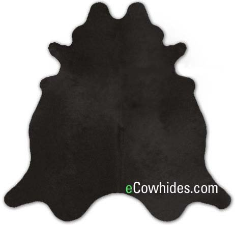 ecowhides Black Dyed Brazilian Cowhide Area Rug, Cowskin Leather Hide for Home Living Room (XL) 7 x 6 ()
