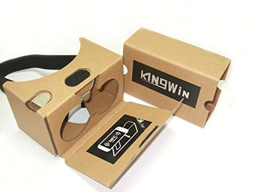 Google Cardboard kit V2 by kingwon 3D 2.0 VR Virtual Reality Glasses W Nose Padding Headset Adjustable Strap for 3.5 to 6 inches Smartphones - 2016 Rewarding Innovative black 3D video glasses-Yellow