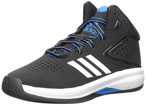 Adidas Unisex-Kids Cross 'Em up 2016 K Wide Basketball Shoe, Core Black, Bright Blue,White, 2 M US Little Kid