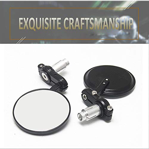 Udele-Store - 22mm Motorcycle Round Bar End Rearview Side Mirrors For Bobber Cafe Racer Modified Handle Black Mirror Reflector Refit