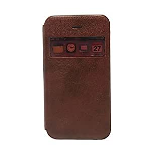 Call Display Window Wake Up And Sleep Function PU Leather Case for iPhone 4/4S (Assorted Colors) , Light Brown