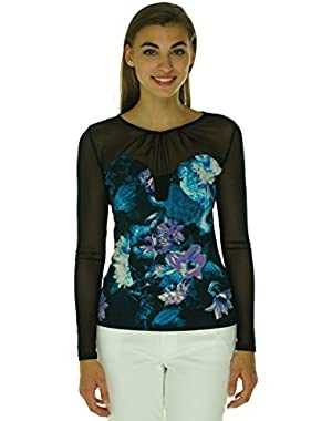 Guess Women's Long-Sleeve Mesh-Paneled Printed Top