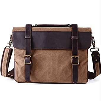 Mens Bag Office Vintage Style Backpack Handbag Casual Business Briefcase Shoulder Messenger Crossbody Satchel Bag,Black/Fuchsia/Green/Khaki High capacity (Color : Coffee color)