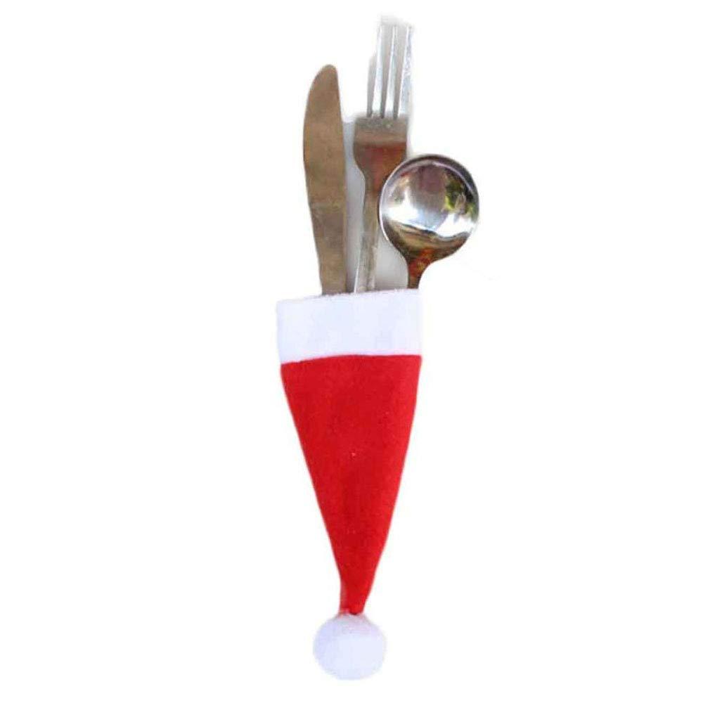 Christmas Decorative Tableware Fork Set Christmas Hat Storage Tool (Pack of 1, 12 x 6cm)