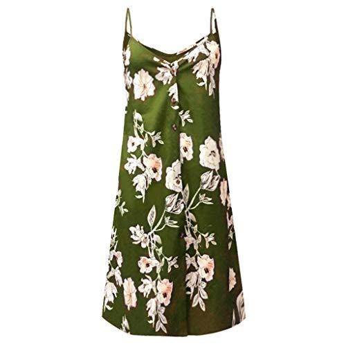 Caopixx Women Dress Summer Spaghetti Strap Print V Neck Button Down Sleeveless Casual Mini Dresses Green -