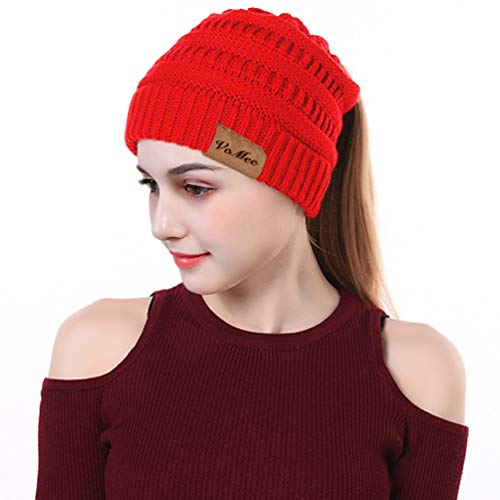 VeMee Ponytail Hat Winter Hat with Ponytail Hole Knit Hat Cap Tail Beanies Messy Bun Beanie Solid Stretch Cable Knit Hat Cap (Dark Red)