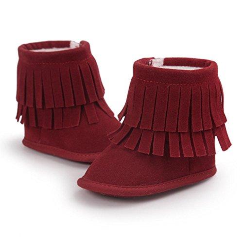 Zapatos para bebé, Culater Patucos de doble Capa 0~18 meses Rojo